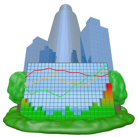 Colorful chart and city background Stock Photo - 10117563