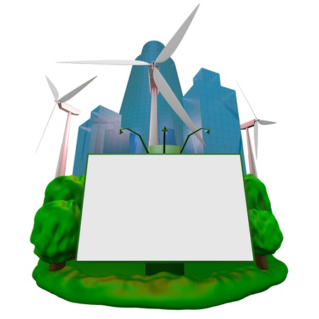 Abstract: wind-turbines, building and billboard Stock Photo