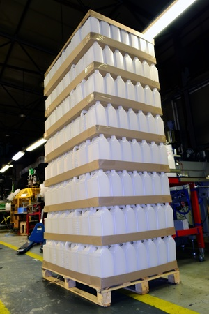 pallet with plastic containers