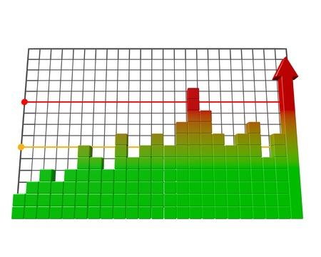 Business bar graph. High quality 3d render.