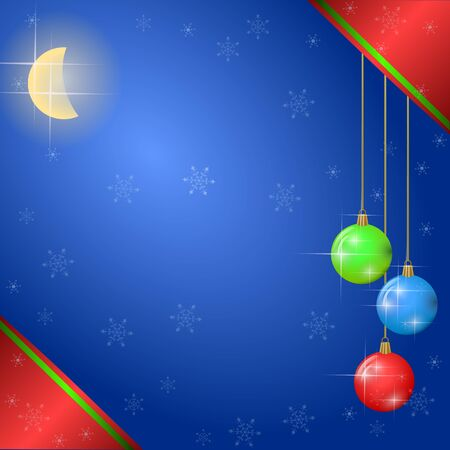 christmas background with color decorations and snowflakes Illustration