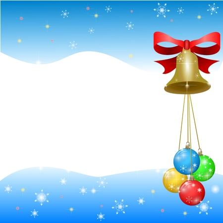 christmas background with color decorations and bell Vector