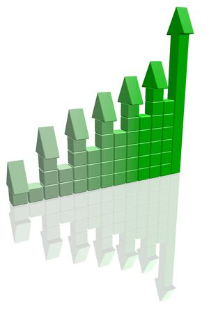 Arrowed chart bar isolated over white Stock Photo