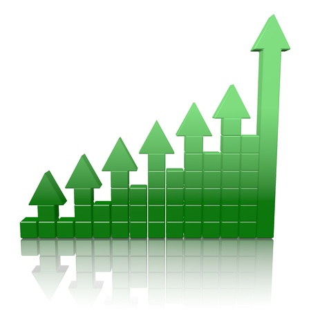increasing: Arrowed chart bar isolated over white Stock Photo