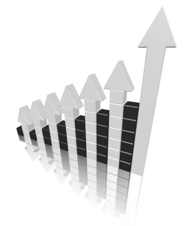 Arrowed chart bar isolated over white photo