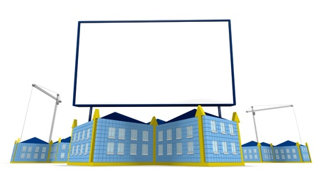 Arrowed building and billboard over white background