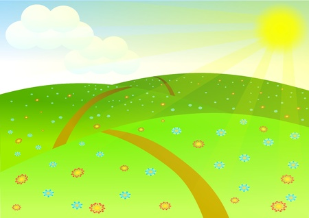 Landscape. Sunset background Vector