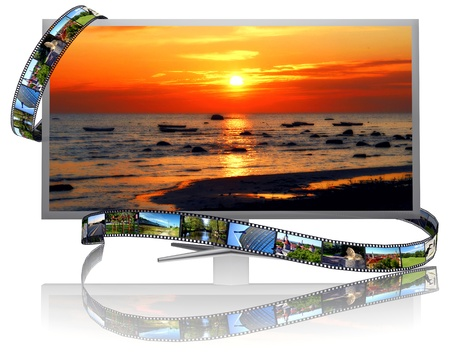 multiple image: Frames of film and lcd display