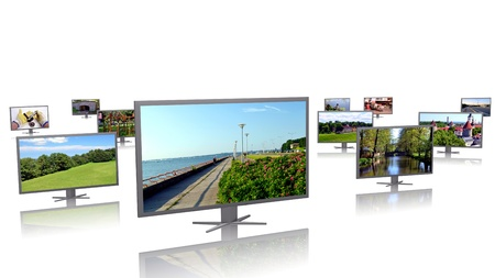 Row of LCD displays with picture galleries Stock Photo - 10538368