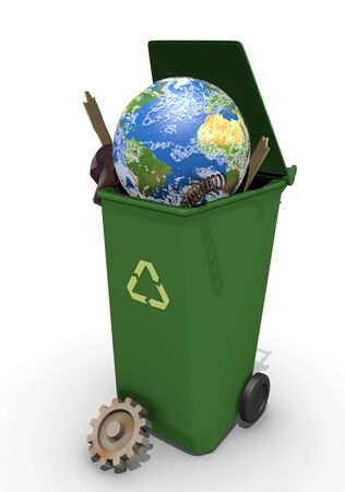 3d illustration of recycle container  with globe
