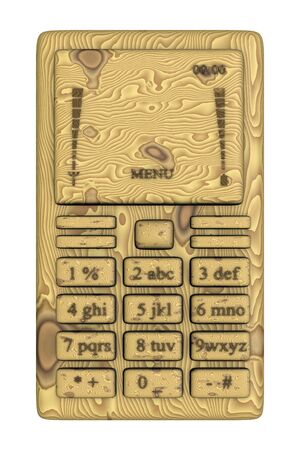 Wooden mobile phone over white background.