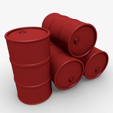 Abstract 3d illustration: Red barrels over white Stock Illustration - 11051988