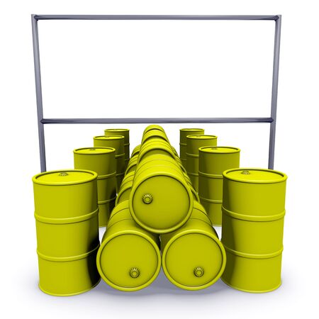 Abstract 3d-illustration: Yellow barrels with blank billboard