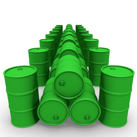 Green barrels group over white background