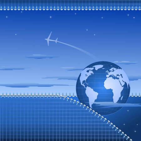 Abstarct globe illustration with sky, plane and open zipper Vector