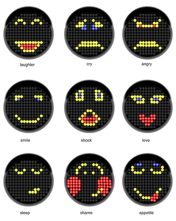 Set of vector symbols of smiles in the form of a semaphore Vector