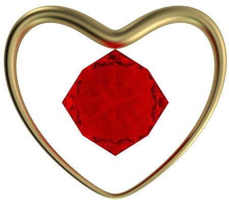 metall and glass: The Golden Ring in the form of heart and a ruby on the middle, isolated on a white background. Stock Photo
