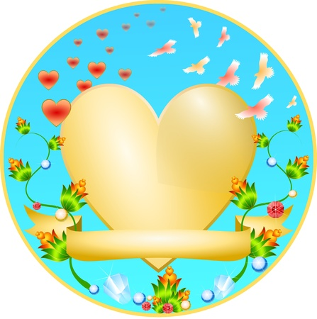 Golden Heart with a flower ornament and jewelry Vector