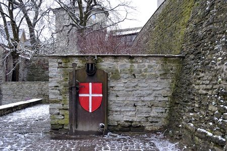 knightly: The knightly arms of the Livonian Order. Old town, Tallinn, Estonia. Editorial