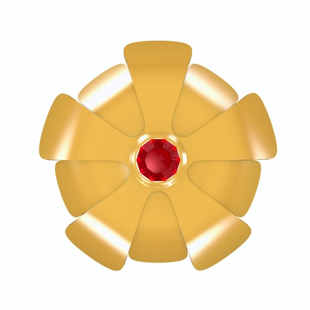 rubin: Gold flower and ruby isolated over white