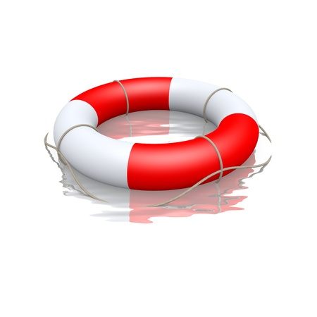 lifebelt: life buoy floating in water Stock Photo