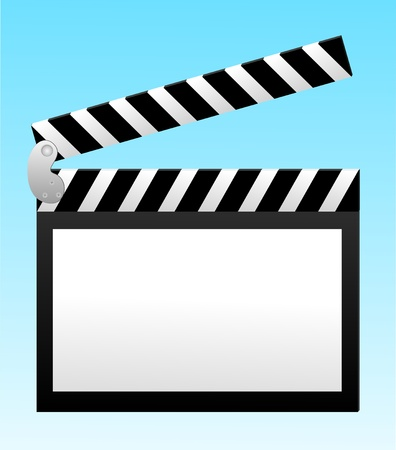 clicker: cinema clapper with blank field over blue background Illustration