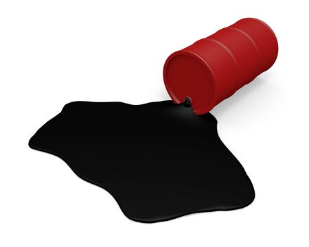 gasoil: Red Barrel with spilled oil over white background