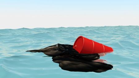 Oil Barrel at blue ocean, 3d illustration Stock Photo