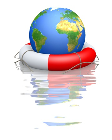 Globe and life buoy floating in water Stock Photo
