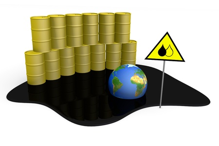 gasoil: Barrels with spilled oil, globe and sign