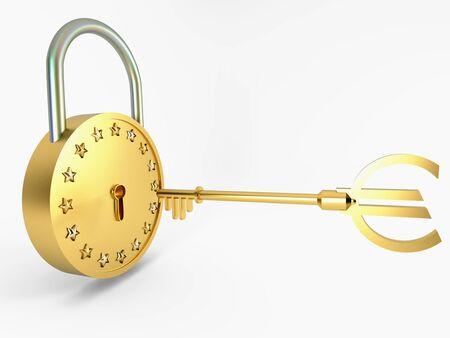 Golden Lock, key and stars Stock Photo - 12402867
