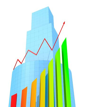 Business Buildings and arrow chart