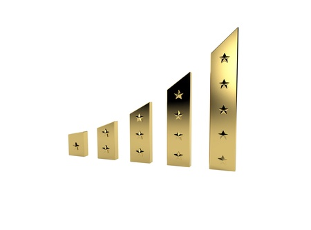 Business Growth, rating - Golden Bars with stars
