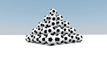 Balls as a pyramid, on a white field