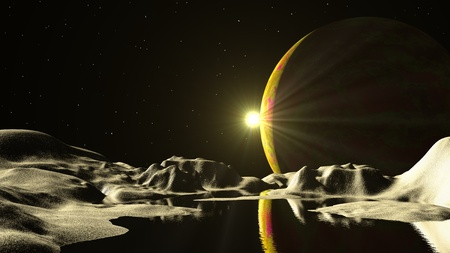 Alien planet in deep space Stock Photo