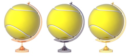 Abstract tennis ball Globe. Three prize-winning places.