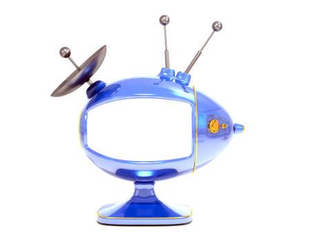 Abstract TV egg, cartoon design, bue over white
