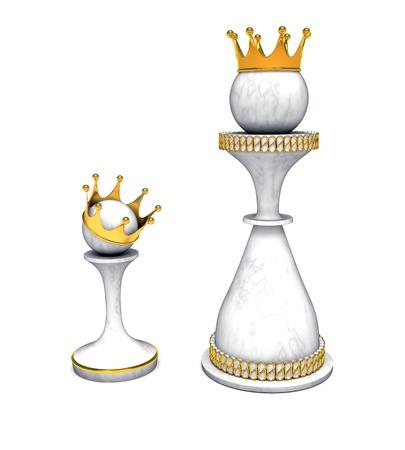 corona reina: ajedrez, dama y peón con corona de oro Foto de archivo