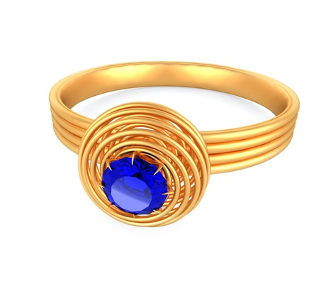 Blue diamond pendant with gold ring