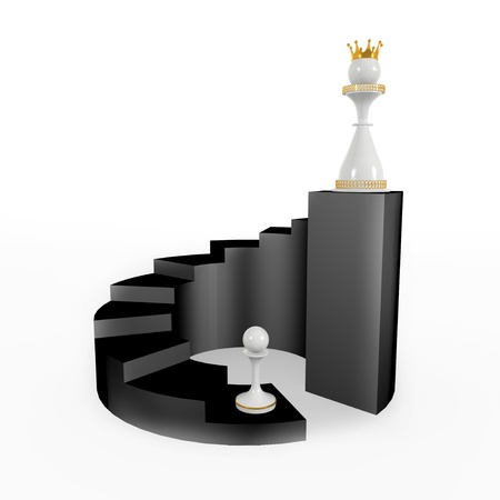 xadrez: pawn becomes a queen. walks upstairs, career and success Banco de Imagens