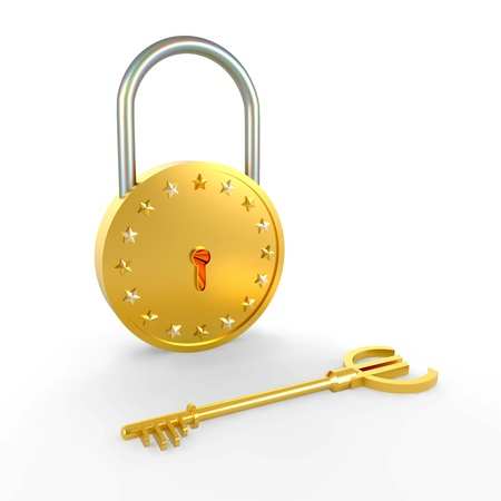 Lock and key of the euro Stock Photo - 13661562
