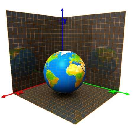Axes of the coordinates and globe Stock Photo - 14252146