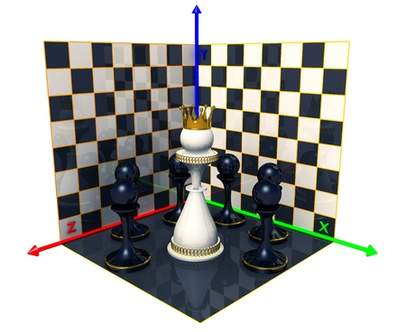 Axes of the coordinates, chess queen photo