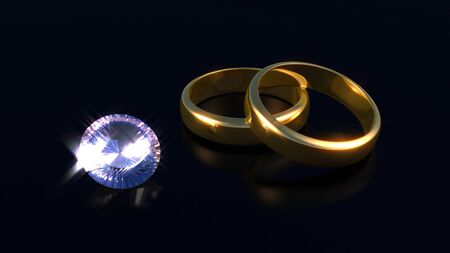 Diamond and rings with reflection in black background photo
