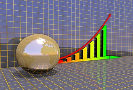 Arrowed business chart and globe over grid