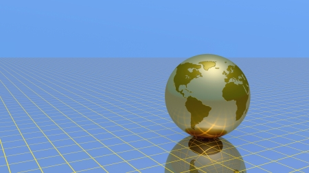 Abstract globe over grid and sky, 3d illustration. illustration