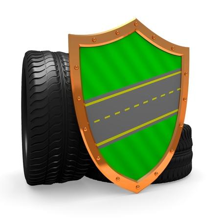 car wheels on the white background Stock Photo - 14448948