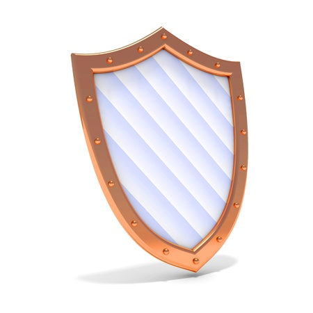 iron defense: Protection concept. 3d illustration of bronze shield