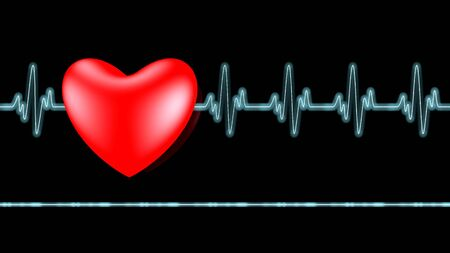 ecg monitoring: Ecg heart beat over black
