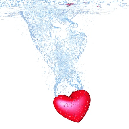 heart dropped into water over white background